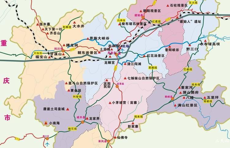 恩施州旅游地图